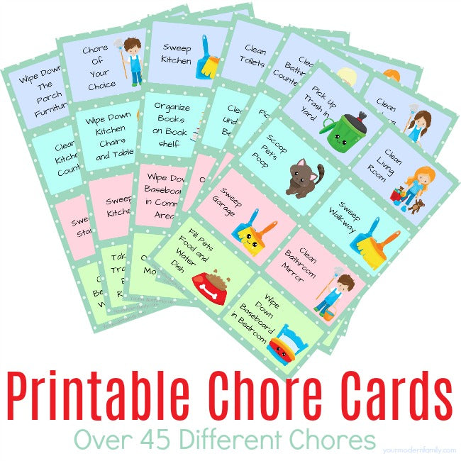 photograph relating to Chores Printable identify Printable Chore Playing cards