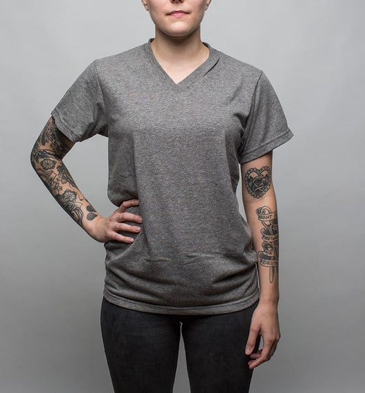 Earth V-Neck T-Shirt, Gray