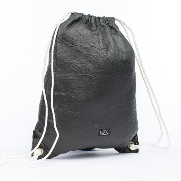 Black - Pinatex - Pineapple - Drawstring Backpack - Hamilton Perkins Collection - Front - Sustainability