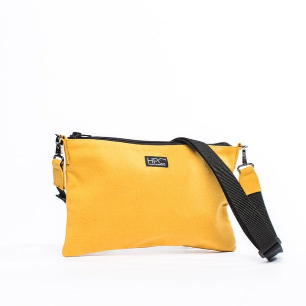 Yellow - Recycled Plastic Water PET Bottles - Recycled - Hamilton Perkins Collection - Crossbody - Close Up - Sustainability