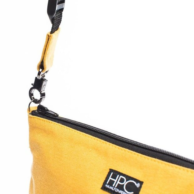 Yellow - Recycled Plastic Water PET Bottles - Recycled - Hamilton Perkins Collection - Crossbody - Close - Sustainability