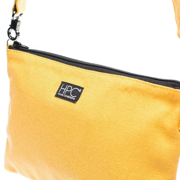 Yellow - Recycled Plastic Water PET Bottles - Recycled - Hamilton Perkins Collection - Crossbody - Up Close - Sustainability