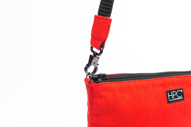 Red - Recycled Plastic Water PET Bottles - Recycled - Hamilton Perkins Collection - Crossbody - Close - Sustainability
