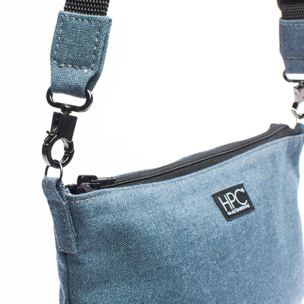 Navy - Recycled Plastic Water PET Bottles - Recycled - Hamilton Perkins Collection - Crossbody - Close - Sustainability