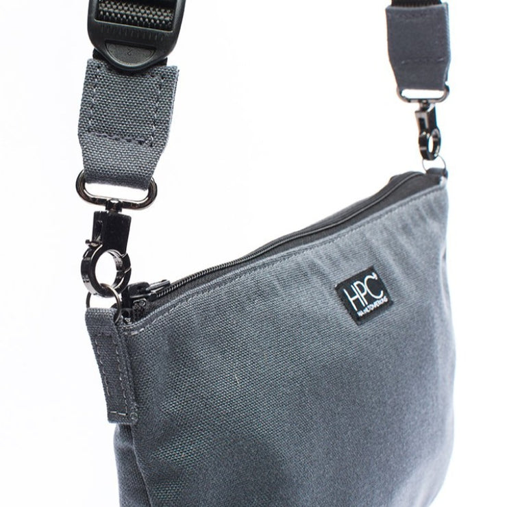 Smoke Gray - Recycled Plastic Water PET Bottles - Recycled - Hamilton Perkins Collection - Crossbody - Side - Sustainability