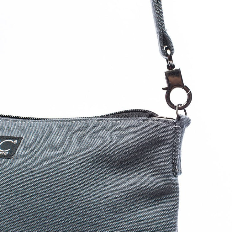 Smoke Gray - Recycled Plastic Water PET Bottles - Recycled - Hamilton Perkins Collection - Crossbody - Close - Sustainability