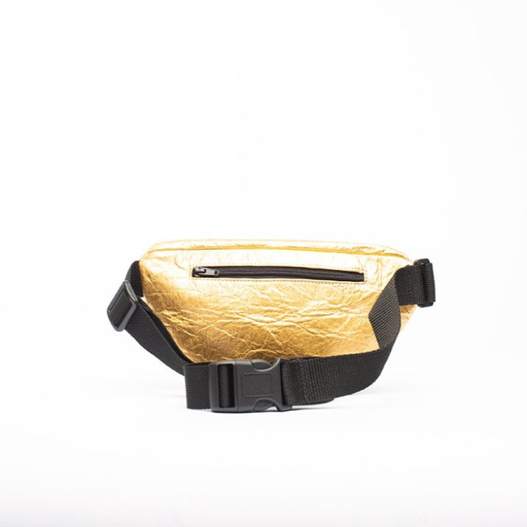 Gold - Pinatex - Pineapple - Fanny Pack - Hamilton Perkins Collection - Earth Bag Slim - Back - Sustainability