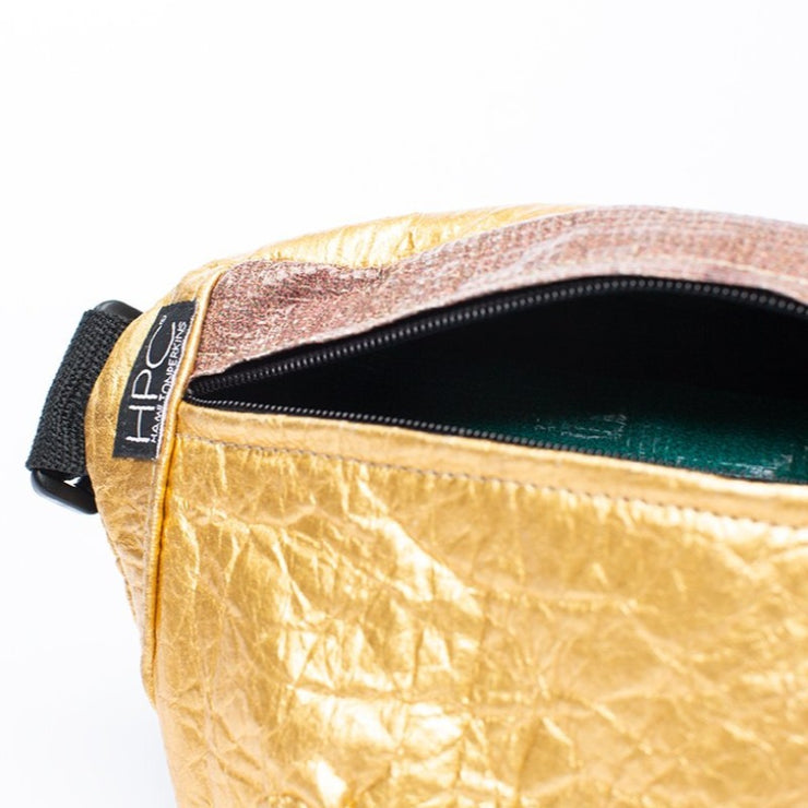 Gold - Pinatex - Pineapple - Fanny Pack - Hamilton Perkins Collection - Earth Bag Slim - Close Up - Sustainability