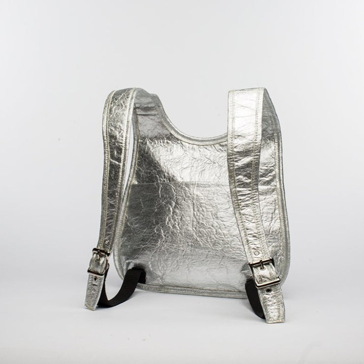 Silver - Pinatex - Pineapple - Backpack - Hamilton Perkins Collection - Earth Bag Slim - Back - Sustainability