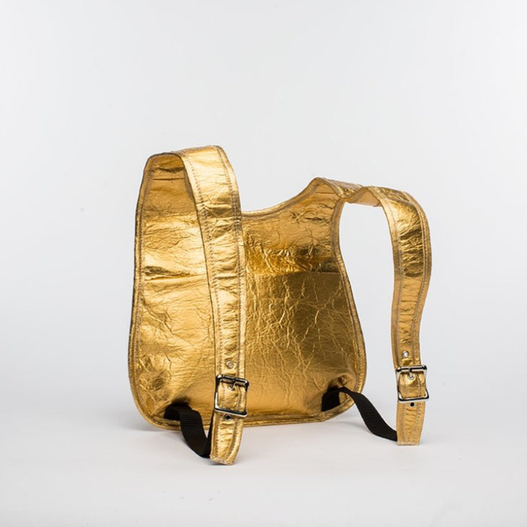 Gold - Pinatex - Pineapple - Backpack - Hamilton Perkins Collection - Earth Bag Slim - Back - Sustainability