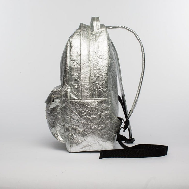 Silver - Pinatex - Pineapple - Backpack - Hamilton Perkins Collection - Earth Bag Standard - Side - Sustainability