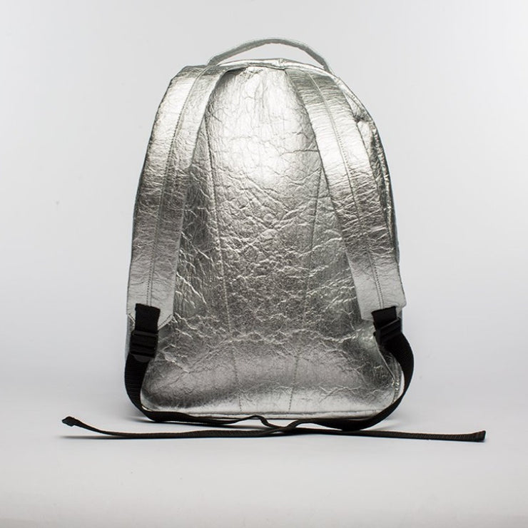 Silver - Pinatex - Pineapple - Backpack - Hamilton Perkins Collection - Earth Bag Standard - Back - Sustainability