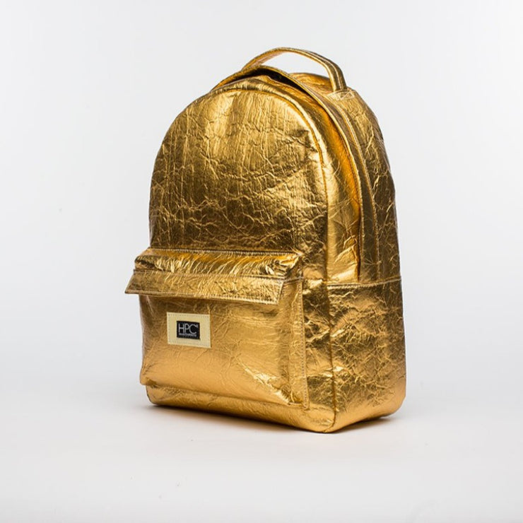 Gold - Pinatex - Pineapple - Backpack - Hamilton Perkins Collection - Earth Bag Standard - Side - Sustainability