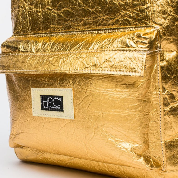 Gold - Pinatex - Pineapple - Backpack - Hamilton Perkins Collection - Earth Bag Standard - Close Up - Sustainability