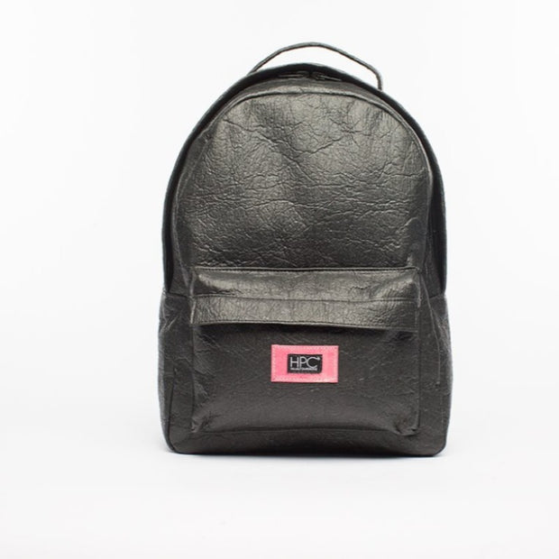 Black - Pinatex - Pineapple - Backpack - Hamilton Perkins Collection - Earth Bag Standard - Front - Sustainability