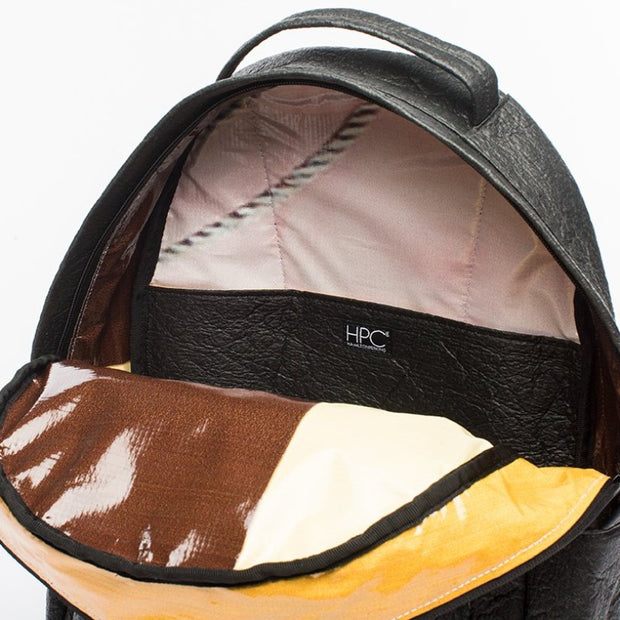 Black - Pinatex - Pineapple - Backpack - Hamilton Perkins Collection - Earth Bag Standard - Inside - Sustainability
