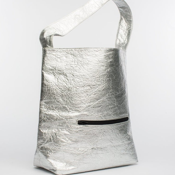 Earth Bag Hobo, Pineapple Silver - Hamilton Perkins Collection