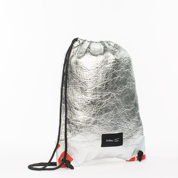 Fruitive Silver - Pinatex - Pineapple - Drawstring - Hamilton Perkins Collection - Backpack - Front - Sustainability