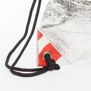 Fruitive Silver - Pinatex - Pineapple - Drawstring - Hamilton Perkins Collection - Backpack - Close Red - Sustainability