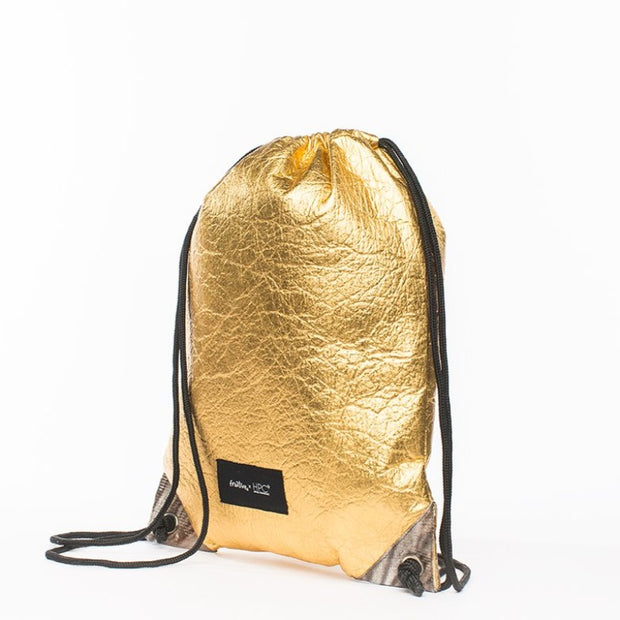 Fruitive Gold - Pinatex - Pineapple - Drawstring - Hamilton Perkins Collection - Backpack - Front - Sustainability