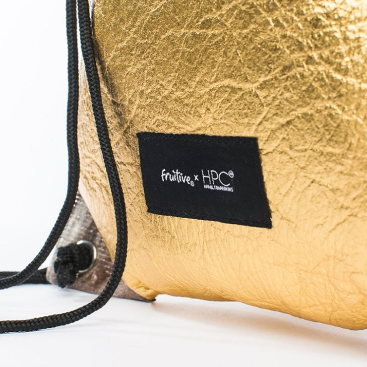 Fruitive Gold - Pinatex - Pineapple - Drawstring - Hamilton Perkins Collection - Backpack - Bottom - Sustainability