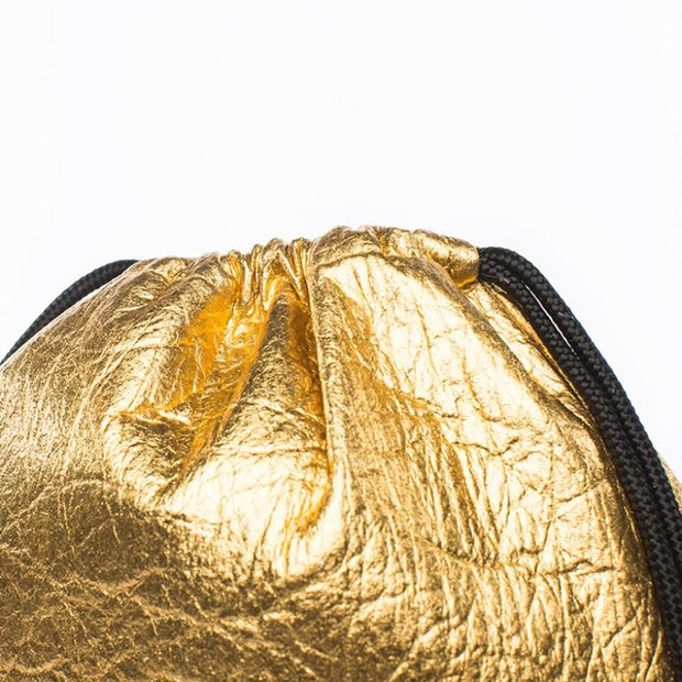 Fruitive Gold - Pinatex - Pineapple - Drawstring - Hamilton Perkins Collection - Backpack - Close - Sustainability