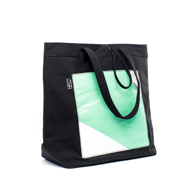Black - Recycled Plastic Water PET Bottles - Recycled - Tote - Hamilton Perkins Collection - Front - Sustainability