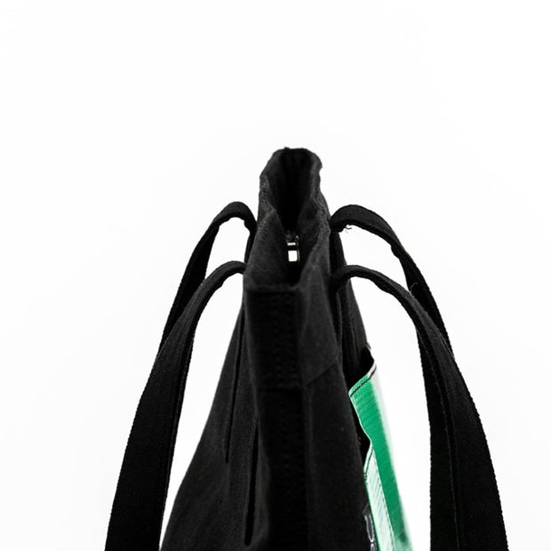 Black - Recycled Plastic Water PET Bottles - Recycled - Tote - Hamilton Perkins Collection - Close - Sustainability