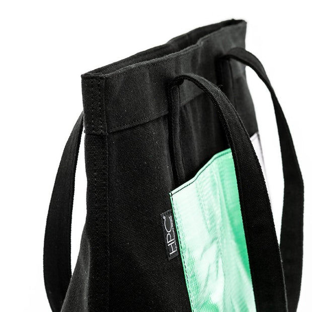 Black - Recycled Plastic Water PET Bottles - Recycled - Tote - Hamilton Perkins Collection - Side - Sustainability