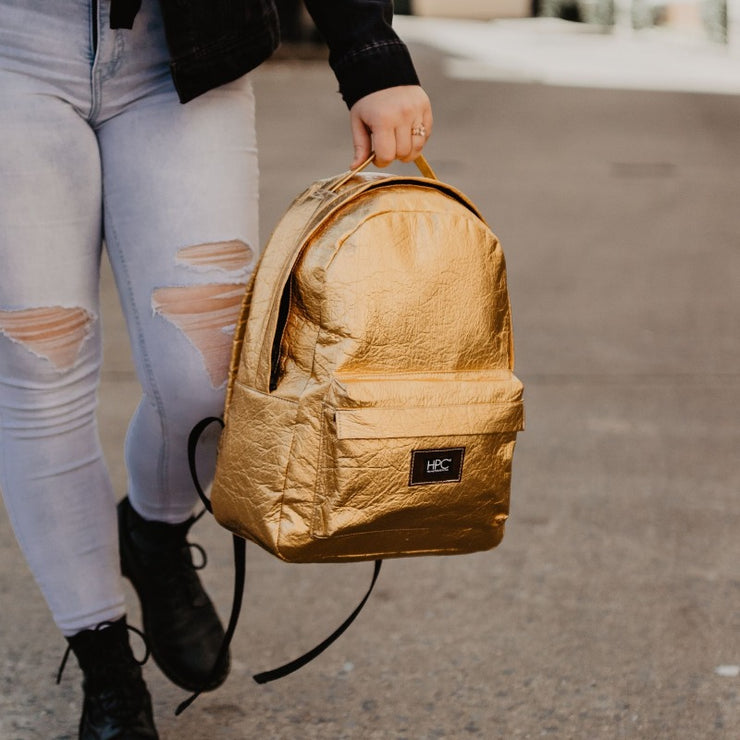 Hollie Hamby Lifestyle Hamilton Perkins Collection Pinatex Pineapple Gold Backpack Close Up