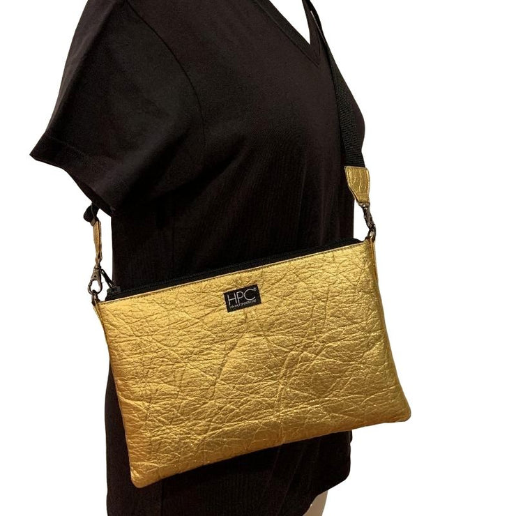 Earth Bag Crossbody, Gold Pineapple