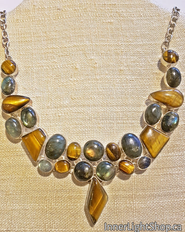 Tiger Eye & Labradorite Crystal Necklace (Silver Plated White Copper Necklace)