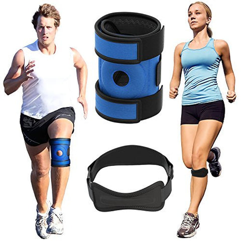 Azure Knee Brace and Strap - Best Neoprene Patella Support For Running, Cross Fit and Walking.