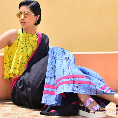 Havana Vibing, Colour Blocking | The chicest new Batik Saree Edit on Urban Drape