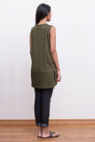 cotton-jersey army green tunic top