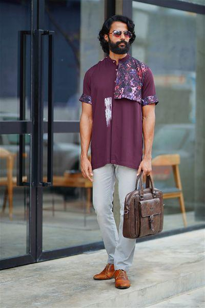 Band-Collar Abstract Floral Shirt