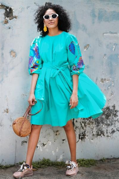 Foliole Aqua Tie Waist Dress