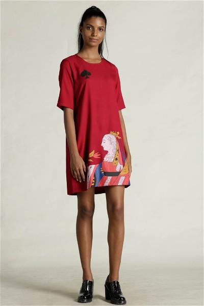 Queen Of Spade Shift Dress - Red