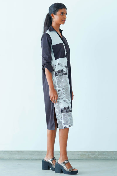 News Paper Printed Shirt Dress