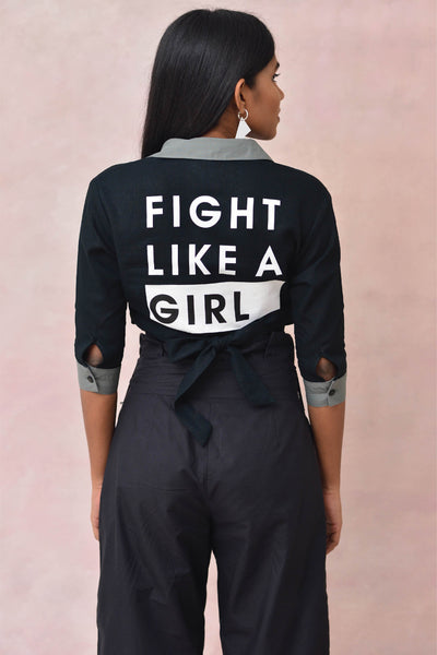 Fight Like A Girl Crop Blouse