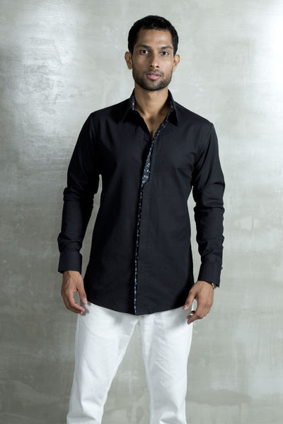 Shirt with Printed trim detail