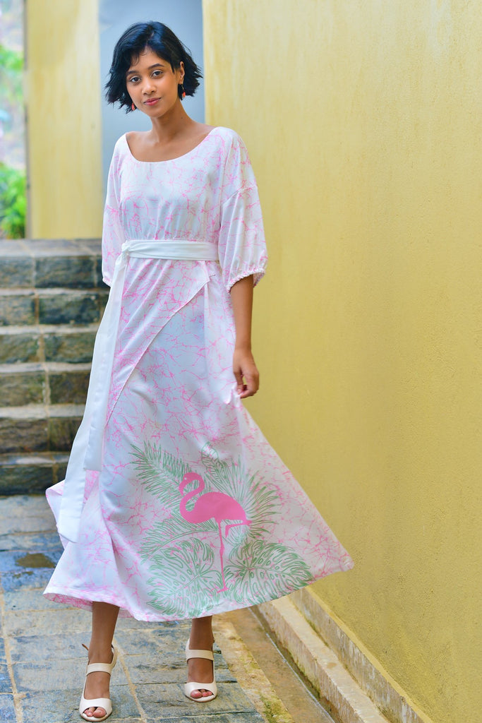 Flamingo Wrap Maxi Dress