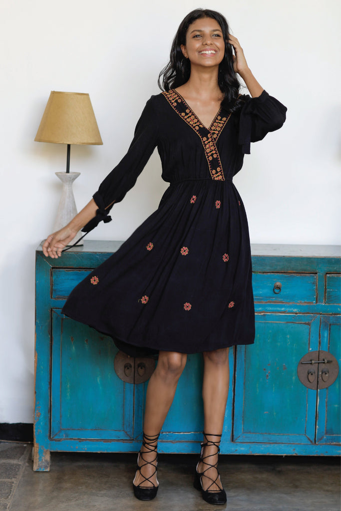 Front Wrap Embroidered Dress-black