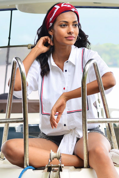 White Cotton Nautical Knot Top