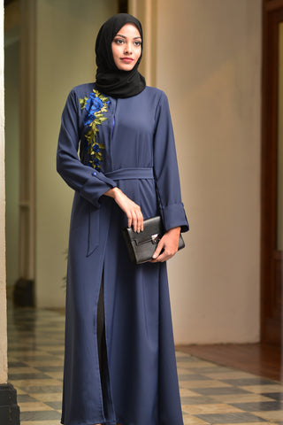 Peach Abaya With Lace