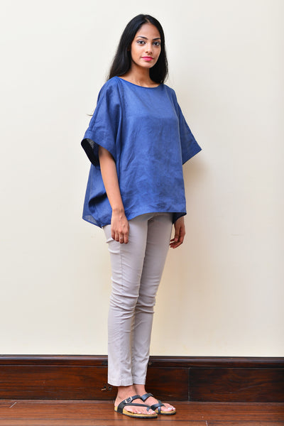 Navy Blue Oversized Linen Top