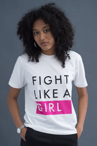 Fight Like a girl white T-shirt
