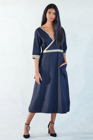 Retro Scooter Tie- up Midi  Dress V3