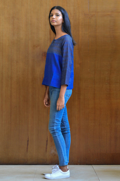 Handwoven Blue Stripe Tunic