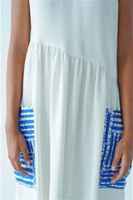 Load image into Gallery viewer, Asymmetric Waist, White Motif Midi Dress